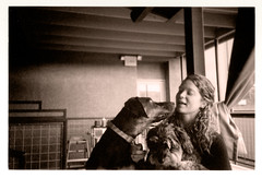 Dog is Love (Robert Drozda) Tags: portland oregon stjohns urbangerman woman dog olympusxa2 film ilfordhp5 bluemooncamera dogfriendly drozda