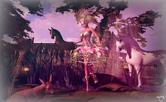 Once upon a time... (Rose Beaumont) Tags: sl secondlife girly fairy scenery background backdrop aap dimis pose flowers horses outdoors faon chevaux champetre