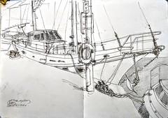 On the quay (Happy Sketcher) Tags: illustration drawing sketch sketchbook urbansketch boat pencil