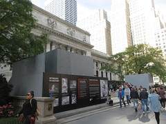 2019 Lions NY Public Library Still Renovating 5546 (Brechtbug) Tags: 2019 lions new york public library still done with renovations but they added pictures statues lion braving morning sunshine 42nd street 5th avenue nyc 10132019 october fall autumn weather eventually animal cat feline statue sculpture art cats ave st gargoyles gargoyle reclining repose resting facade stairs front entrance