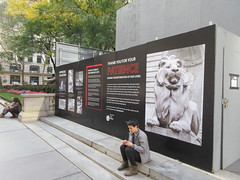 2019 Lions NY Public Library Still Renovating 5536 (Brechtbug) Tags: 2019 lions new york public library still done with renovations but they added pictures statues lion braving morning sunshine 42nd street 5th avenue nyc 10132019 october fall autumn weather eventually animal cat feline statue sculpture art cats ave st gargoyles gargoyle reclining repose resting facade stairs front entrance