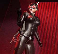 Catwoman Prowls (beccaprender) Tags: catwa catya bento maitreya lara session rose xo catwoman superhero cosplay fantasy catsuit leather
