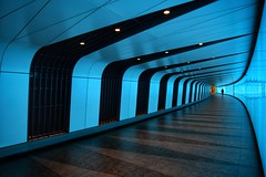 Out of The Blue (Mr_Pudd) Tags: england ledlighting mixedlighting tiles glass blue nikond750 nikon foottunnel londonunderground stpancras kingscross london city underground tunnel person man triangle triangles
