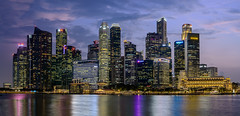Singapore Blue Hour (wes_f_hunt) Tags: singapore skyline skyscrapers night nightscape cityscape water sea colours lights panorama illuminated urban architecture destination travel blue hour waterfront downtown city sky long exposure nikon d800