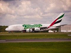 """A6-EEW Emirates Airbus A380-800 """"Expo 2020 (Mobility / green)"""" special colours (alex kerr photography) Tags:"""