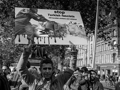 XPRO7390-1-2 (Lawrence Holmes.) Tags: fuji xpro1 xf1855mmf284rlmois streetphotography street protest political syria turkey kurdistan war blackandwhite piccadillygardens manchester uk lawrenceholmes