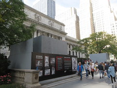 2019 Lions NY Public Library Still Renovating 5547 (Brechtbug) Tags: 2019 lions new york public library still done with renovations but they added pictures statues lion braving morning sunshine 42nd street 5th avenue nyc 10132019 october fall autumn weather eventually animal cat feline statue sculpture art cats ave st gargoyles gargoyle reclining repose resting facade stairs front entrance