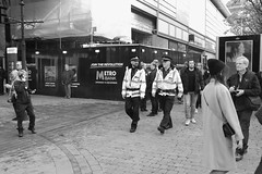 XPRO7385 (Lawrence Holmes.) Tags: fuji xpro1 xf1855mmf284rlmois streetphotography street sooc blackandwhite police manchester uk lawrenceholmes