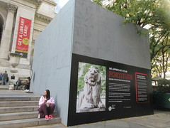 2019 Lions NY Public Library Still Renovating 5534 (Brechtbug) Tags: 2019 lions new york public library still done with renovations but they added pictures statues lion braving morning sunshine 42nd street 5th avenue nyc 10132019 october fall autumn weather eventually animal cat feline statue sculpture art cats ave st gargoyles gargoyle reclining repose resting facade stairs front entrance
