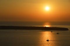 Oia, Santorini (Seventh Heaven Photography - (Travel)) Tags: oia santorini island aegean sunset dusk orange sea water sun silhouette reflection landscape seascape castle nikond3200