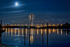 Full Moon Over Waterford (Spookwoman) Tags: thomas francis meagher bridge waterford ireland land landmark landscape moon full night sky river suir