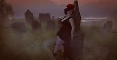 La Catrina (likethewaves) Tags: sl secondlife vr virtualreality virtual mesh 3d fashion fashions fashionable style styling stylish stylist halloween spooky scary fall autumn magic magical magick magickal lacatrina diadelosmuertos dayofthedead death dead dying die graveyard headstone headstones fog foggy myth mythological burialground burial buried
