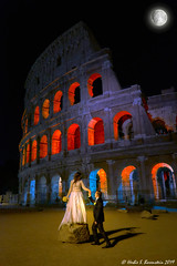 Wedding at the Coliseum. (Fotofricassee) Tags: wedding love romance couple coliseum ruins night dark full moon marriage