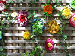 The Great Wall of Crochet: close up (2 of 2) (Su_G) Tags: sug 2019 seenonthestreet northsydney suburbansydney sydneysuburbs suburban guerillacrochet thegreatwallofcrochet crochet handcrafts craft handmade colourful colorful red yellow orange pink green