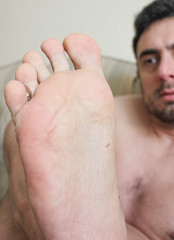 30 (kinkhumiliation) Tags: barefeet soles toes malefeet nude naked cheesy feet male solo sole foot barefoot toejam