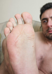 29 (kinkhumiliation) Tags: barefeet soles toes malefeet nude naked cheesy feet solo male foot barefoot toejam