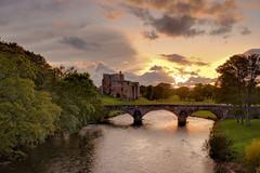 Bridge to Brougham (vincocamm) Tags: cumbria brougham sunset eamont river rivereamont trees grass green orange bridge castle clouds cloudy october autumn
