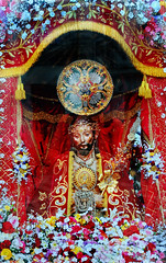 'Ecco Homo,' Culto do Senhor Santo Christo dos Milagres - Punta Delgado, Island of Sao Miguel, The Azores, Portugal (TravelsWithDan) Tags: statue church convent outladyofhope lordholychristofthemiracles puntadelgado eccohomo saomiguel azores island portugal red flowers woodenstatue middleages mobilephonephoto samsunggalaxys6