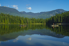 A Summer's Morning in Whistler (RobertCross1 (off and on)) Tags: a7rii alpha bc britishcolumbia canada emount fe50mmf18 ilce7rm2 lostlake sony whistler bluesky clouds forest fullframe lake landscape mirrorless reflection trees water