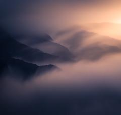 Rolling clouds (simengjelsvik) Tags: sunset landscape light cloudinversion clouds beautiful epic goldenhour