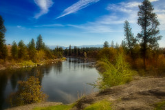 Up the river 2 (webblr40) Tags: mirabeaupark spokane river blue sky trees clouds