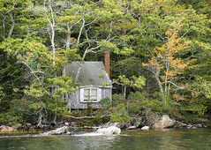Island Cabin (sjoblues) Tags: cabin woods maine water forest private