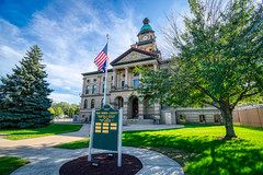Van Buren County Courthouse (tquist24) Tags: hdr michigan nikon nikond5300 outdoor pawpaw vanburencountycourthouse architecutre city clouds courhouse flag geotagged grass historic lawn sidewalk sky tree trees