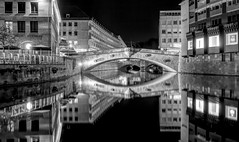 Nürnberg (Alliat) Tags: blackandwhite urban nürnberg germany water still mirror reflection calm night river city windows buildings longexposure travel