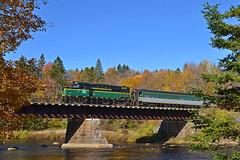 Adirondack Scenic Moose River Bridge (ERIE1960) Tags: railroad trains adirondacks locomotive passengertrain adirondackscenic alco mlw rs18 newyorkrailroads railroadbridge adix1835