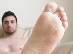 18 (kinkhumiliation) Tags: barefeet feet naked nude toes soles cheesy malefeet male solo