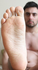 8 (kinkhumiliation) Tags: barefeet soles toes malefeet nude naked cheesy feet male solo toejam barefoot