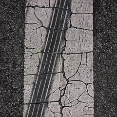 Don't tread on me! (MyArtistSoul) Tags: street vertical crosswalk asphalt cracked oxnardca urban bw abstract black monochrome square nightshot diagonal textures skidmark iphone 8pm 7227 iph7 blackwhite availablelight minimal simple thickpaint