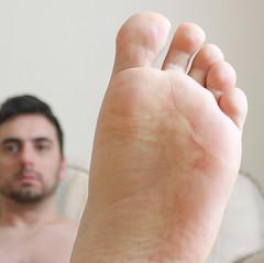 24 (kinkhumiliation) Tags: barefeet feet naked nude toes soles cheesy malefeet male solo sole barefoot bigfeet