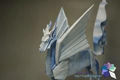 Winged Kirin / Qilin (Rydos) Tags: paper origami art hanji koreanpaper korean origamist koreanorigamist paperfold fold folding paperfolding designed design model papermodel korea origamilst kamiya satoshi kamiyasatoshi double color blue black wingedkirin qilin winged kirin nihonbashi cloud