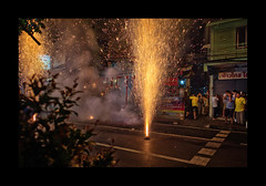 Oh my ears!... (Antoine - Bkk) Tags: ceremony festival bangkok thailand night firework chinese tradition documentary