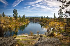 Up the river 3 (webblr40) Tags: mirabeaupark spokane river blue sky trees clouds