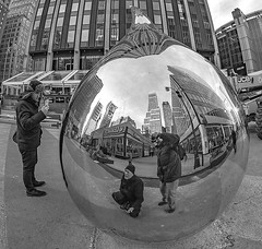 Crystal Ball View Of NYC (xrayman.dd) Tags: tearmonument stainlesstear imagination streetshot