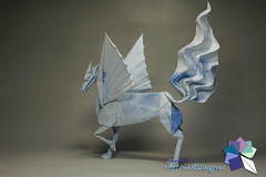 Winged Kirin / Qilin (Rydos) Tags: paper origami art hanji koreanpaper korean origamist koreanorigamist paperfold fold folding paperfolding designed design model papermodel korea origamilst kamiya satoshi kamiyasatoshi double color blue black wingedkirin qilin winged kirin nihonbashi cloud