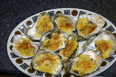 DSC_9255 (photographer695) Tags: brandy hole oysters essex emeralds from billingsgate fish market docklands london rockefeller consists halfshell that have been topped with lime cheddar cheese corn flower then baked or grilled oven