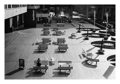 FILM - Barbican bench land (fishyfish_arcade) Tags: 35mm analogphotography bw barbican blackwhite blackandwhite filmphotography filmisnotdead hp5 istillshootfilm london monochrome olympusom1 zuiko50mmf18 analogcamera film ilford mono streetphotography