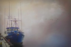 Return of the Tuna Boats (Christina's World : updated bio) Tags: boat fishing marina foggy blue birds flying textures topaz man mood minimalism mist sea seascape landscape kurtpeiser oe fragiletouch topclass brilliantphotographers highclass