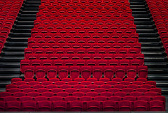 Theater (HWHawerkamp) Tags: no people chair red seat architecture bleachers day inside of stadium malta valetta creativeedit theater graphics abstract