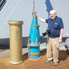 "Bill III, my Dad, with 16"" practice round and powder can. USS Iowa BB 61 DSC_0025 (wbaiv) Tags: uss iowa bb 61 battleship anchored off long beach california bill iii dad united states america us ships navy naval military"