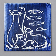 Cats on Hereford blank tile (robmcrorie) Tags: tile ceramic hereford 1950s 1960s cat kitten