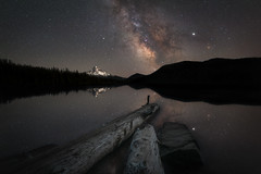 Lost Lake Reflections (Mike Ver Sprill - Milky Way Mike) Tags: lost lake hood mountaint mt landscape milky way mike galaxy stars universe astophotography astronomy astro photography logs oregon reflect water beautiful night sky nightscape dark skies long exposure ioptron star tracker clean explore explorer chaser