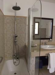 DSCF1735 (rugby#9) Tags: paradise tenerife canaryislands canaries shower bath tiles indoor room bathroom apartment complex holiday clublacosta mirror sink door tap window towels