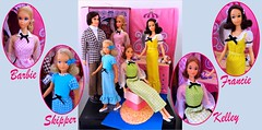 The QUICK CURL FAMILY (ModBarbieLover) Tags: 1973 quickcurl barbie kelley skipper francie ken hairplay doll mattel mod early70s 1970s gingham vintage toys case dress hair