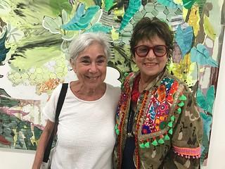 Artist Karen Rifas and Artist/collector Francie Bishop Good at the Emerson Dorsch opening