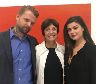 Grant Bonnier, owner of Bonnier Gallery, with artist Kathleen Jacobs and wife Christina, at the opening of Kathleen's exhibition there