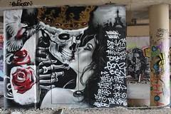 Andrew Wallas_5768 boulevard du Général Jean Simon Paris 13 (meuh1246) Tags: streetart paris paris13 andrewwallas boulevarddugénéraljeansimon crâne squelette couronne couple baiser